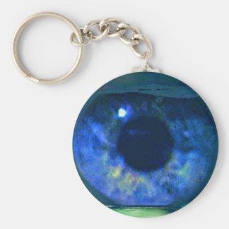 Blue Eye Looking Through A Fishbowl Keychain