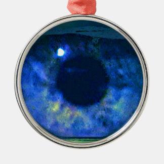Blue Eye Looking Through A Fishbowl Metal Ornament