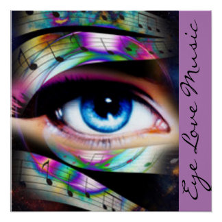 Blue Eye With Music Notes Poster