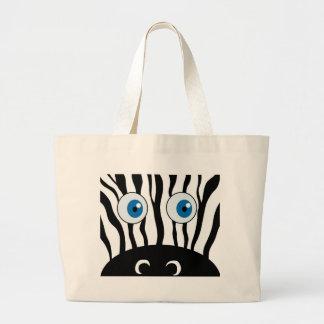 Blue eye zebra large tote bag