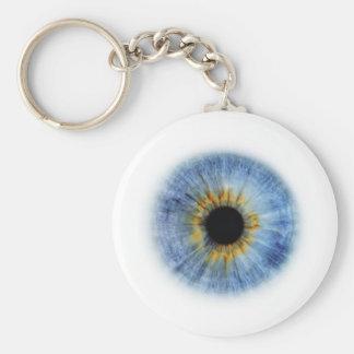 Blue Eyeball Basic Round Button Keychain