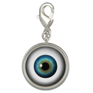 Blue Eyeball Iris Eye Fun Cool Round Charm