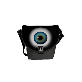 Blue Eyeball Iris Eye Small Rickshaw Messenger Bag