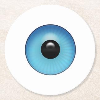 Blue Eyeball Round Paper Coaster