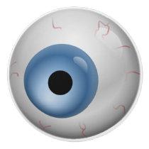 Blue Eyeball Zombie Drawer Knob