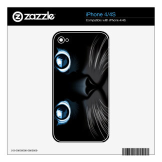 Blue Eyed Black Cat Face iPhone Skin Decals For The iPhone 4