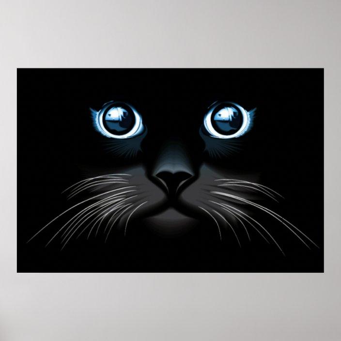 Blue Eyed Black Cat Face Poster Zazzle Com