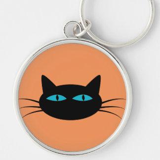Blue-Eyed Black Cat Keychain