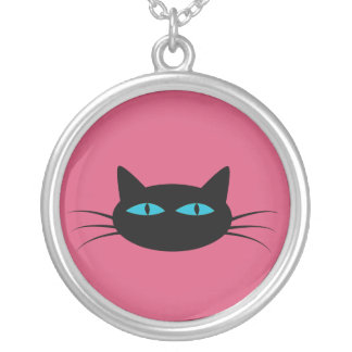 Blue-Eyed Black Cat Silver Plated Necklace