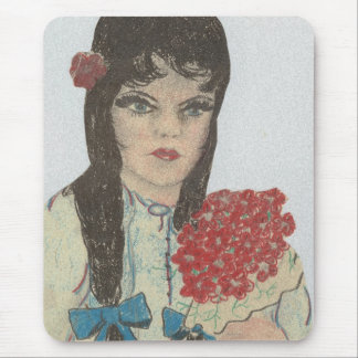 Blue Eyed Black Haired Girl Mouse Pad