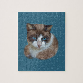 Blue Eyed Brown and White Cat Puzzle