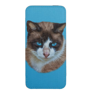 Blue Eyed Brown and White Haughty Cat iPhone 5 Pouch