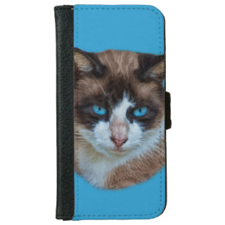Blue Eyed Brown and White Haughty Cat iPhone 6 Wallet Case
