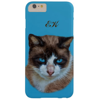 Blue Eyed Brown and White Haughty Cat, Monogram Barely There iPhone 6 Plus Case