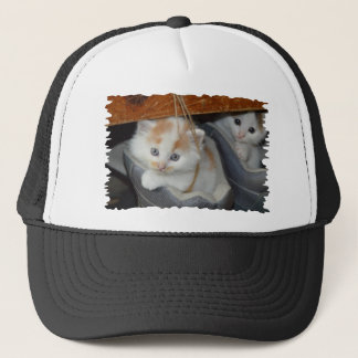 Blue Eyed, Brown and White patched Kitten in boot Trucker Hat