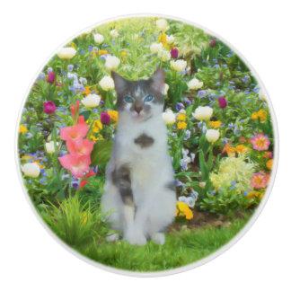 Blue Eyed Cat Among The Flowers Ceramic Knob