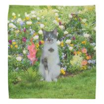 Blue Eyed Cat Among The Flowers, Customizable Bandana
