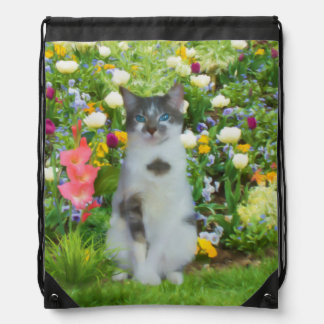 Blue Eyed Cat Among The Flowers, Customizable Drawstring Bag