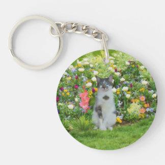 Blue Eyed Cat Among The Flowers, Customizable Single-Sided Round Acrylic Keychain