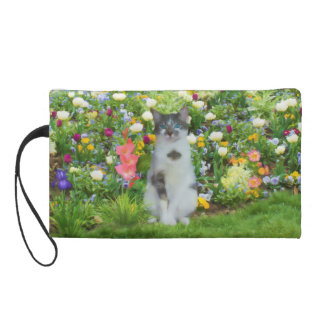 Blue Eyed Cat Among The Flowers, Customizable Wristlet Purse