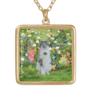 Blue Eyed Cat Among The Flowers Gold Plated Necklace