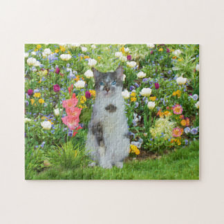 Blue Eyed Cat Among The Flowers Jigsaw Puzzle