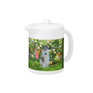 Blue Eyed Cat Among The Flowers Teapot