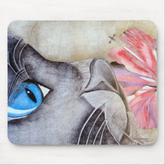 Blue-Eyed Cat and Flower Mouse Pad