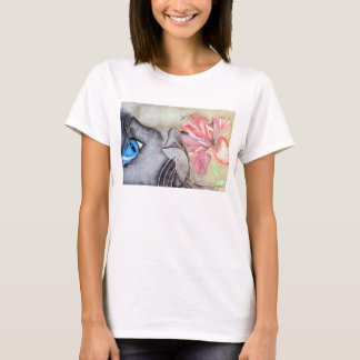 Blue-Eyed Cat and Flower T-Shirt