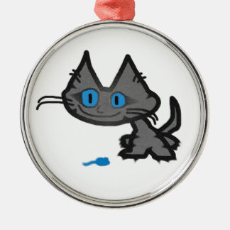 Blue Eyed Cat And His Little Mouse Toy Christmas Ornament