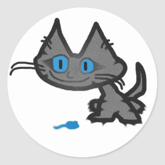 Blue Eyed Cat And His Little Mouse Toy Stickers