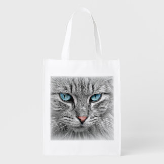 Blue-Eyed Cat Grocery Bag