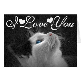 Blue Eyed Cat Photo Image I Love You Card