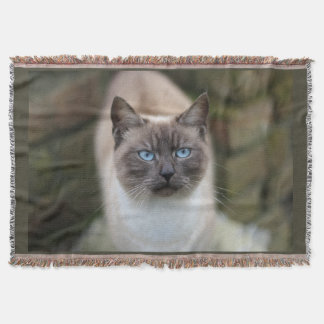 Blue Eyed Cat Photograpy Throw Blanket