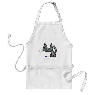 Blue Eyed Cat With Mouse Toy Aprons