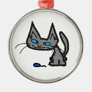Blue Eyed Cat With Mouse Toy Christmas Tree Ornament