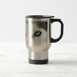 Blue eyed dogs can see the wind 15 oz stainless steel travel mug