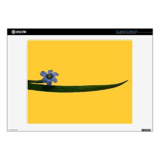 "Blue-eyed grass flower and leaf skin for 14"" laptop"
