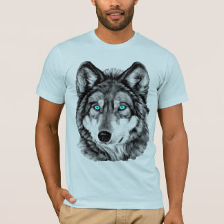 Blue-Eyed Grayscale Painted Wolf T-Shirt