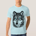 Blue-Eyed Grayscale Painted Wolf T-shirts