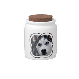 Blue Eyed Husky Candy Jar