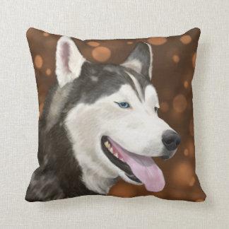 Blue Eyed Husky Pillow, Brown Bokeh Background Throw Pillow