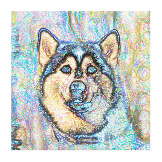 Blue Eyed Husky The Beautiful Dog Drawing Canvas Print