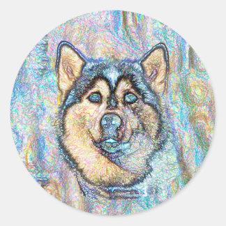 Blue Eyed Husky The Beautiful Dog Drawing Classic Round Sticker