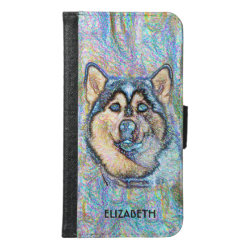 Blue Eyed Husky The Beautiful Dog Drawing Samsung Galaxy S6 Wallet Case