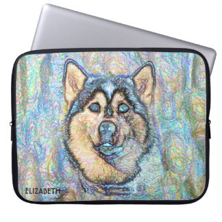 Blue Eyed Husky The Beautiful Dog Drawing smart Computer Sleeve