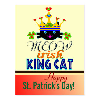 ♫♥Blue-Eyed King-Cat St. Patrick's Day Postcard♥♪