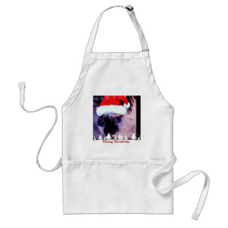 Blue Eyed Kitty Meowy Christmas holiday gifts Apron