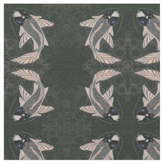 Blue Eyed Koi Fish Mirrored Black and Orange Print Fabric