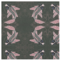 Blue Eyed Koi Fish Mirrored Black and Red Print Fabric